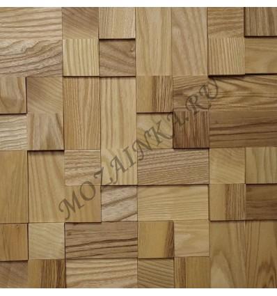 Кантри Ясень деревянная 3Д мозаика, без покрытия маслом