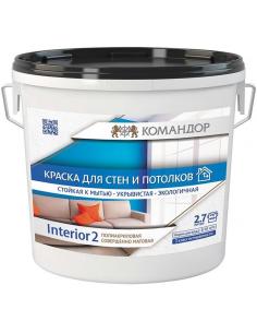 Командор Interior 2 совершенно матовая краска для стен и потолка 0,9л
