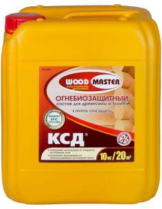WOODMASTER КСД огнебиозащитный состав для древесины и тканей 10кг