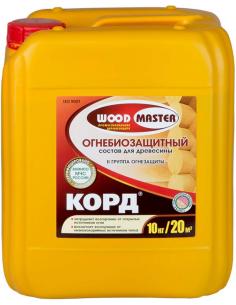 WOODMASTER КОРД огнебиозащитный состав для древесины 10кг