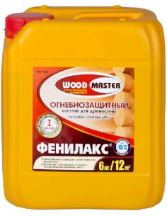 WOODMASTER Фенилакс огнебиозащитный состав для древесины 6кг