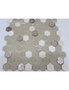 Hexagon Beige Glass камень и стекло