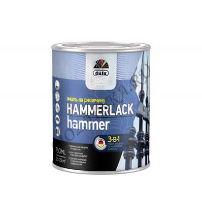 Dufa Premium Hammerlack / Дюфа Премиум Хаммерлак 3-в-1 Эмаль на ржавчину молотковая 0.75 л. Красный