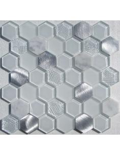 Hexagon White Metal мозаика из стекла, камня и алюминия