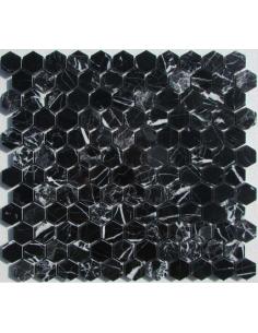 Hexagon Nero Marquina каменная мозаика