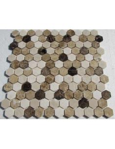 Hexagon Mix Emperador каменная мозаика