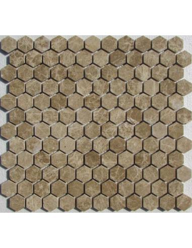 Hexagon Emperador Light каменная мозаика