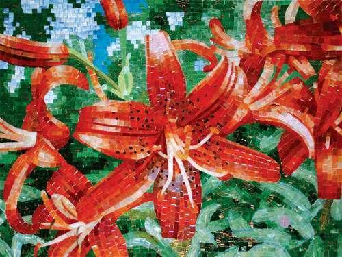 панно из мозаики цветы